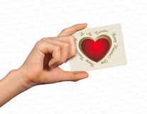 Hand giving conceptual heart Royalty Free Stock Photography