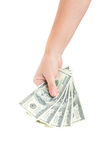 Hand giving  dollars Stock Images