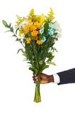 Hand giving flowers. A over white background Stock Photo