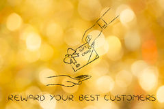 Hand giving a gift card with bow, reward your best customers Stock Photography