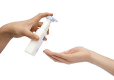 Hand giving handcream Stock Image
