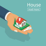 Hand giving house keys. Isometric design. Vector illustration flat style. Real estate agent handing holding in palm home and key. Template for sale, rent home Stock Photography