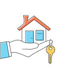 Hand giving house keys. Thin line vector illustration flat minimal design. Real estate agent handing over house keys. Template for sale, rent home Royalty Free Stock Image