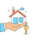 Hand giving house keys. Thin line vector illustration flat minimal design. Real estate agent handing over house keys. Template for sale, rent home Stock Photos
