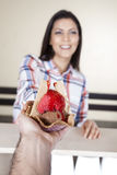 Hand Giving Ice Cream In Waffle Bowl To Female Customer Royalty Free Stock Photos