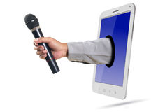 Hand Giving Microphone Royalty Free Stock Photography