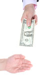 Hand giving money Stock Photos