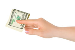 Hand giving money Stock Images