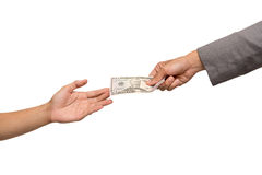 Hand giving money Stock Photo