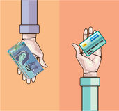 Hand giving money and credit card vector Royalty Free Stock Photos