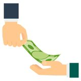 Hand giving money. Hand holds the plate need money. Concept of poverty, bankruptcy, crisis and collapse. Flat vector cartoon illustration. Objects isolated on a Royalty Free Stock Photo