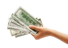 Hand is giving money Stock Images