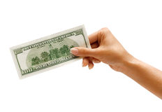 Hand is giving money. Royalty Free Stock Image