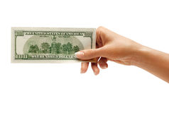 Hand is giving money Stock Image