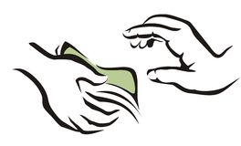Hand giving a money symbol. Giving a money symbol from one hand to onother Stock Photo