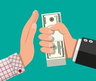 Hand giving money to other hand. Hand full of dollar banknotes. Hidden wages, salaries black payments, tax evasion, bribe. Anti corruption concept. Vector stock illustration