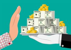 Hand giving money to other hand. Tray full of dollar banknotes , gold coins. Hidden wages, salaries black payments, tax evasion, bribe. Anti corruption concept vector illustration