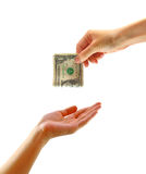 Hand giving money to other hand isolated Royalty Free Stock Image