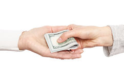 Hand giving money to other hand Royalty Free Stock Image