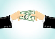 Hand giving money to other hand Royalty Free Stock Photography