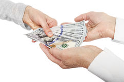 Hand giving money to other hands Royalty Free Stock Photography
