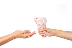 Hand giving money Royalty Free Stock Photos