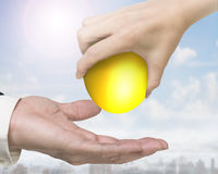 Hand giving one golden egg Stock Photos