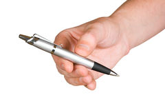Hand giving pen Stock Photography