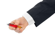 Hand giving pen Royalty Free Stock Image