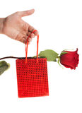Hand giving present box and a rose Royalty Free Stock Image