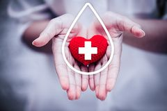 Free Hand Giving Red Heart For Help Blood Donation Hospital Stock Photo - 139341090