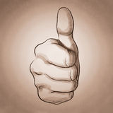 Hand giving a thumbs up. As vintage style concept vector illustration