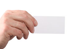 Hand giving a visiting card. Holds check, Isolated Stock Photography