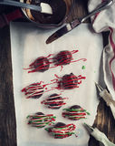 Hand - gjord chokladtryffel Arkivfoton