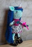 Hand - gjord docka och kläderleksak Arkivbilder