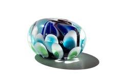 Hand - gjord färgblått glass pärla Royaltyfria Bilder