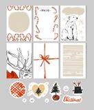 Hand - gjord juluppsättning med kort, anmärkningar, klistermärkear, etiketter, stämplar, etiketter med vinter och julillustration stock illustrationer
