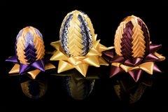 Hand - gjord kanzashi för tre påskägg Royaltyfri Fotografi