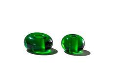 Hand - gjorda gröna genomskinliga glass pärlor Arkivfoto