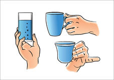Hand with glass and cup vector illustration