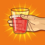 Hand with glass and juice Royalty Free Stock Photo