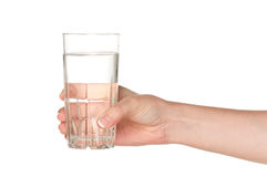 Hand with glass of water Royalty Free Stock Photography