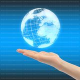 Hand with globe Stock Photo