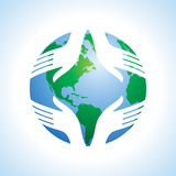 Hand and globe. Protect earth Stock Photography