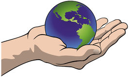 Hand with the globe Royalty Free Stock Photos
