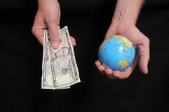 Hand and Globe Stock Image