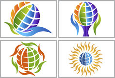 Hand globe logos Stock Photography