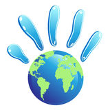 Hand globe symbol. The symbol of hands fingers with earth for design Stock Photography
