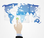Hand Globe touch Royalty Free Stock Photo