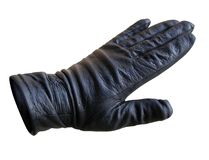 Hand in a glove. Hand in a black leather glove isolated with clipping path included Stock Photo